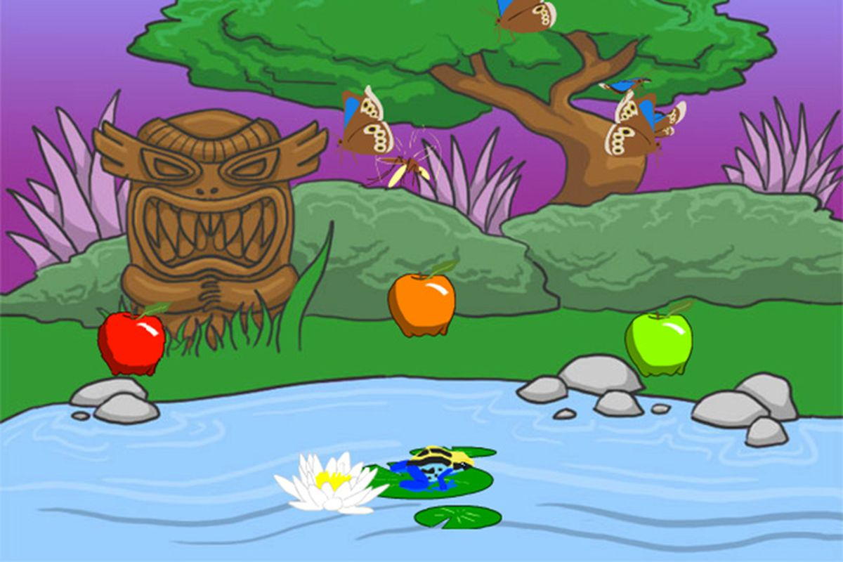 A screenshot from Frog Fractions. You're a frog, and you do fractions. Simple, right?